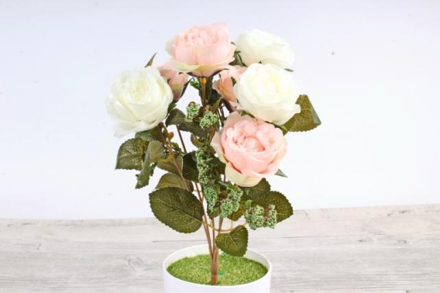 Искусственное растение -  Розы  бело-розовые
