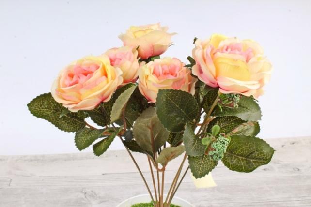 Искусственное растение -  Розы жёлто-розовые