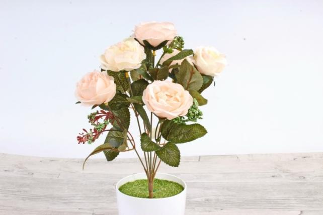 Искусственное растение -  Розы  персиковые