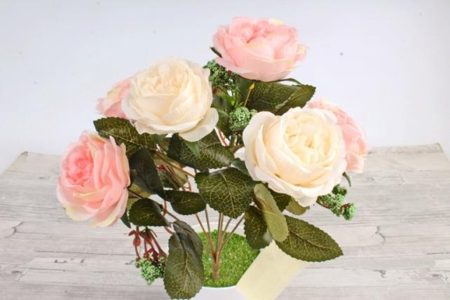 Искусственное растение -  Розы  персик-шампань
