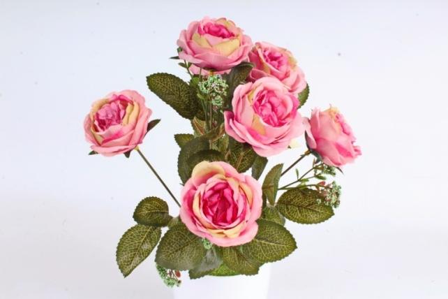 Искусственное растение -  Розы  ярко-розовые
