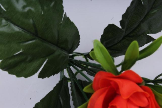 искусственное растение - розы оранжевые 25 см