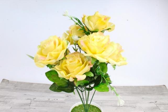 Искусственное растение -  Розы оттеночные лимонно-розовые