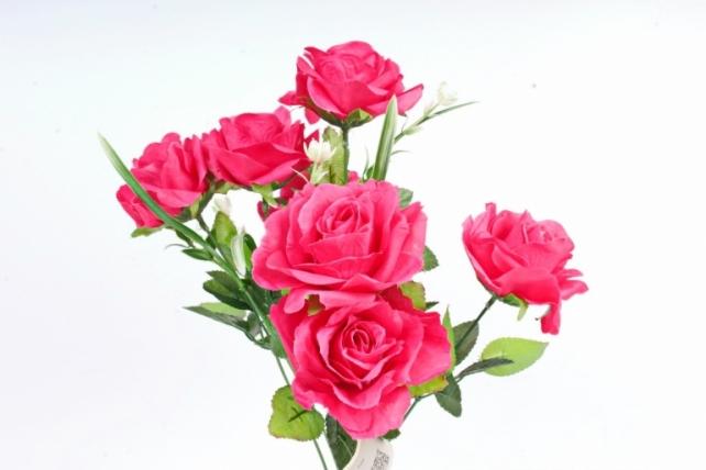 Искусственное растение -  Розы оттеночные малиновые