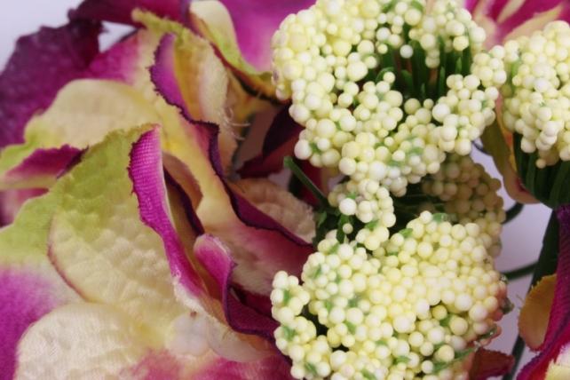 искусственное растение - соцветие гортензии d=15 см фуксия/жёлтый 8563