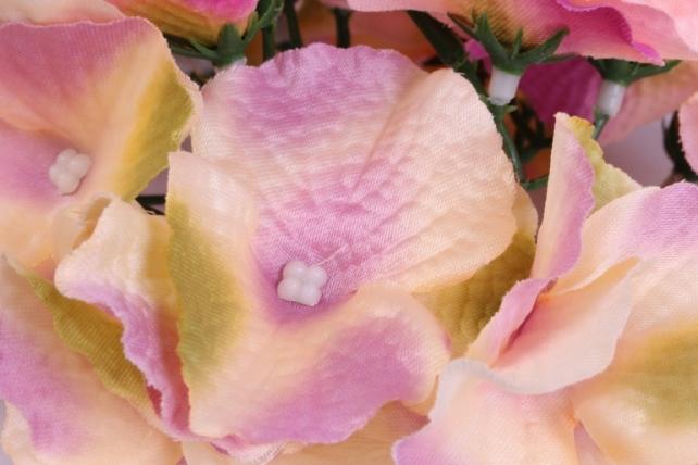 искусственное растение - соцветие гортензии d=15 см персиковое 8563