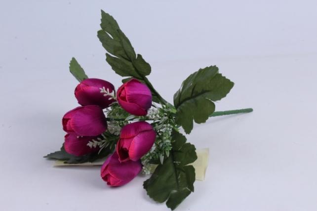 Искусственное растение - Тюльпаны фуксия h=26cm
