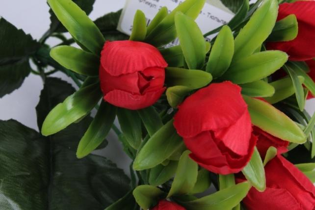 искусственное растение - тюльпаны красные h=28cm