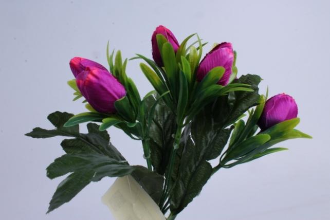 искусственное растение - тюльпаны пурпурные h=28cm