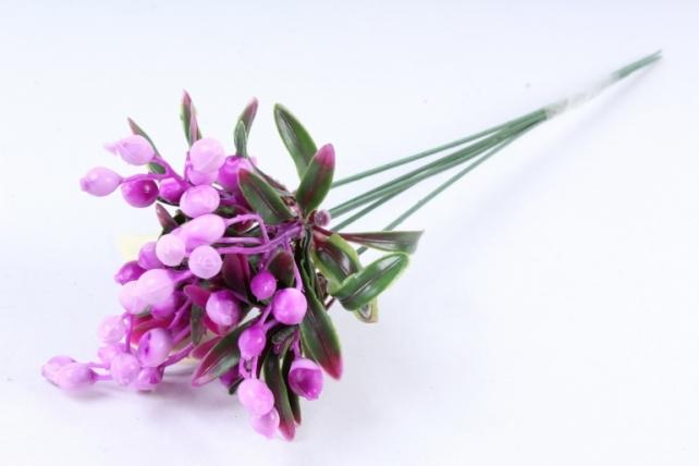 Искусственное растение -  Ветка боярышника пурпурная (5 шт в уп)  В10404