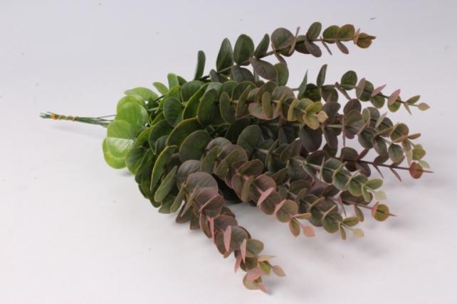Искусственное растение - Ветка Эвкалипта Зелено-розовая 30см  (12 шт в уп)  TIK058