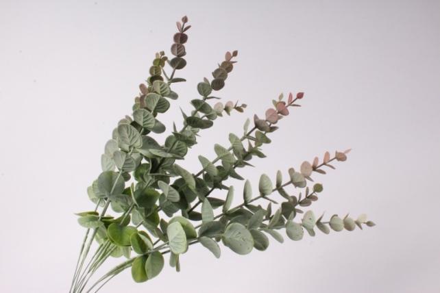 искусственное растение - ветка эвкалипта зелено-розовая с напылением 30см  (12 шт в уп)  tik058