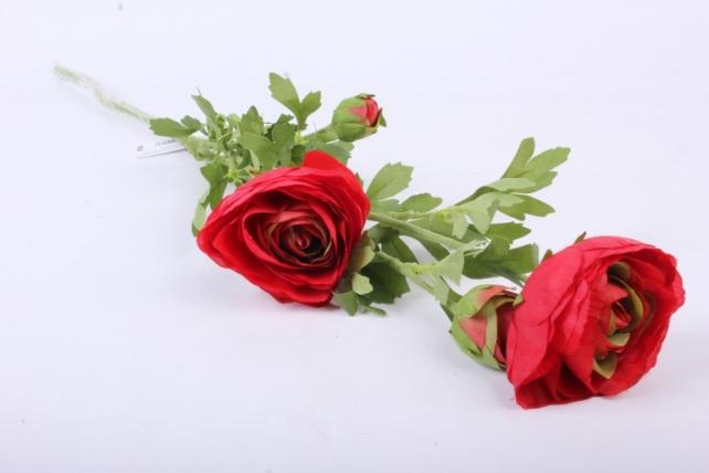 Искусственное растение - Ветка Ранункулюс красный SUN311