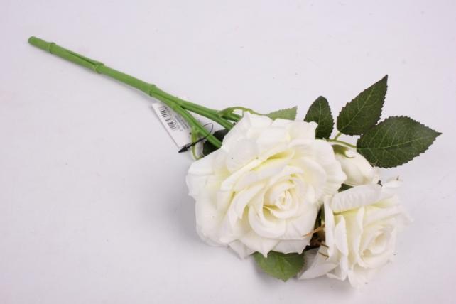 Искусственное растение - Ветка розы 35 см белая SUN524