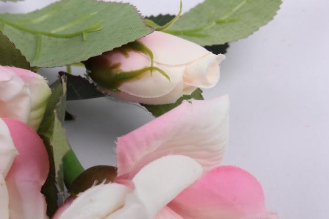 искусственное растение - ветка розы 35 см бело-розовая sun524