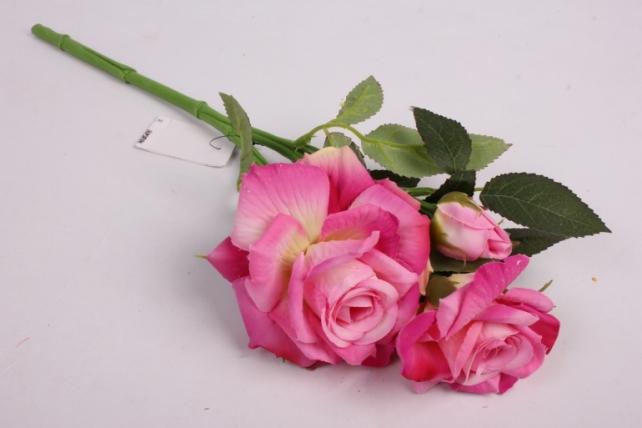 Искусственное растение - Ветка розы 35 см малиновая SUN524
