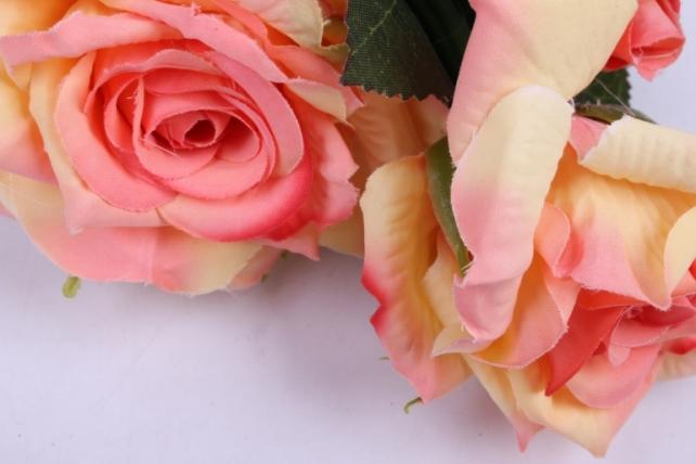 искусственное растение - ветка розы 35 см персик sun524