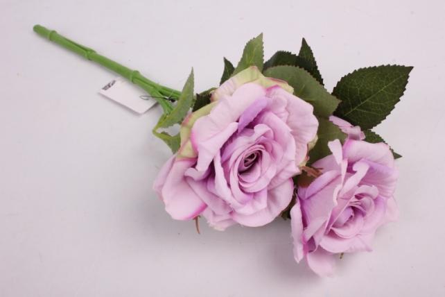 Искусственное растение - Ветка розы 35 см сиреневая SUN524
