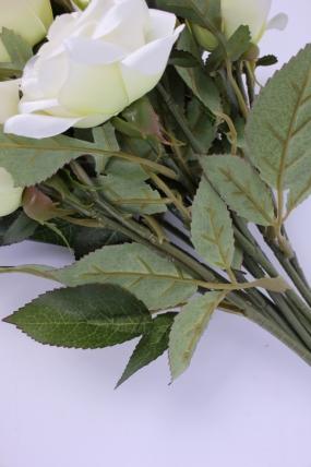 искусственное растение - ветка розы 35см белая (12 шт в уп) sun452