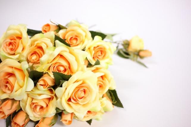 искусственное растение - ветка розы 35см желтая (12 шт в уп) sun452