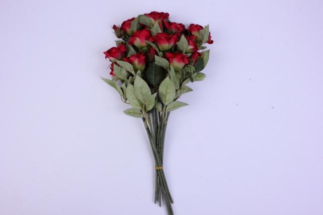 искусственное растение - ветка розы 35см красная (12 шт в уп) sun452