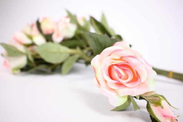 искусственное растение - ветка розы 35см розовая (12 шт в уп) sun452