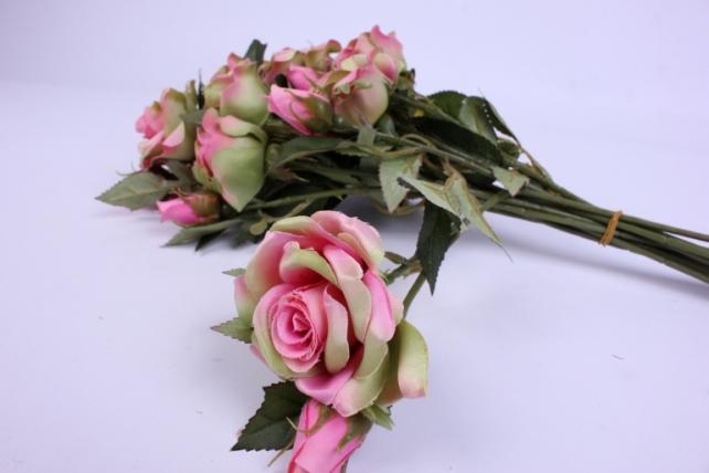 искусственное растение - ветка розы 35см розово-салатовая (12 шт в уп) sun452