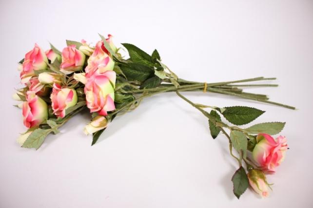 искусственное растение - ветка розы 35см ярко-розовая (12 шт в уп) sun452