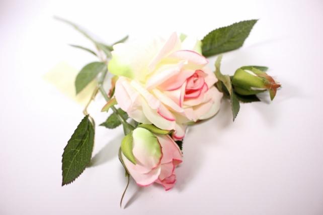Искусственное растение - Ветка Розы 45см бело-розовая SUN425
