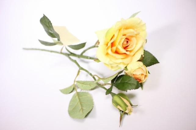 искусственное растение - ветка розы 45см желтая sun425