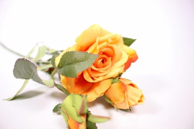 Искусственное растение - Ветка Розы 45см оранжевая SUN425