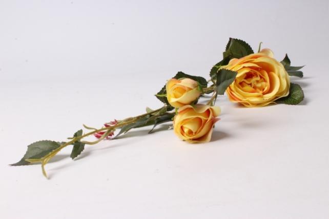 Искусственное растение - Ветка Розы 65см Желтая SUN382