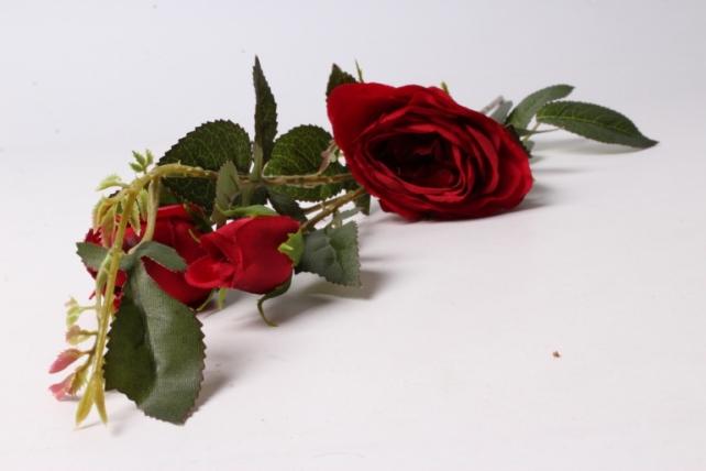 искусственное растение - ветка розы 65см красная sun382