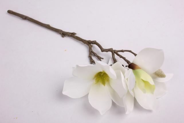 Искусственное растение - Веточка Магнолии 35 см белая SUN488