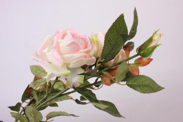 искусственное растение - веточка розы  бело/розовые  sun317