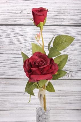 Искусственное растение -  Веточка Розы с бутоном 48 см бордо 20KL751-1