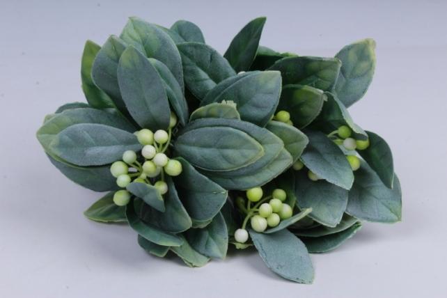искусственное растение- веточка с белыми ягодами 25см (6шт в уп) ava206-1  2778