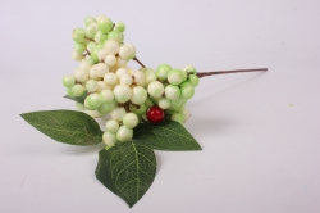 искусственное растение - веточка с ягодками бело-салатовые ow1008