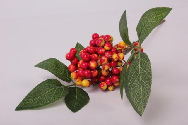 Искусственное растение - Веточка с ягодками желто-красные OW1008