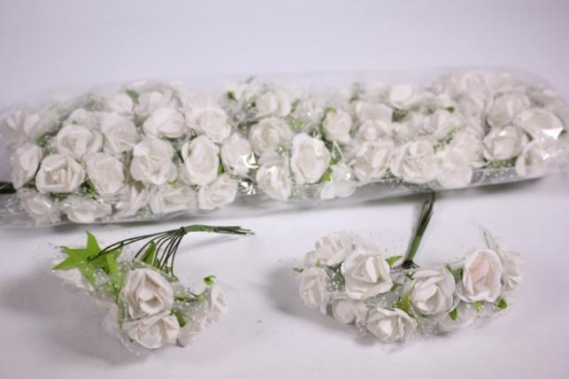 Искусственные цветы бумажные 2,5см Белые (72шт в уп) CF10-L424