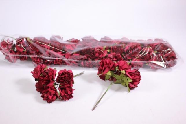 Искусственные цветы бумажные 2,5см Бордо (72шт в уп) CF10-L382