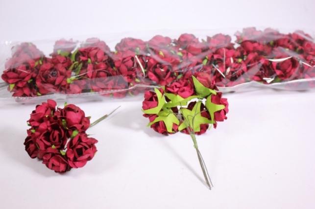 Искусственные цветы бумажные 2,5см Бордо (72шт в уп) CF12-L711