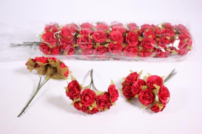 Искусственные цветы бумажные 2,5см Красные (72шт в уп) CF10-L1320