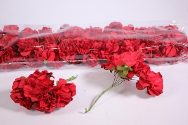 Искусственные цветы бумажные 2,5см Красные (72шт в уп) CF10-L382