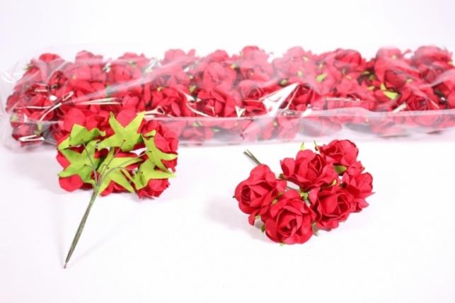 Искусственные цветы бумажные 2,5см Красные (72шт в уп) CF12-L711