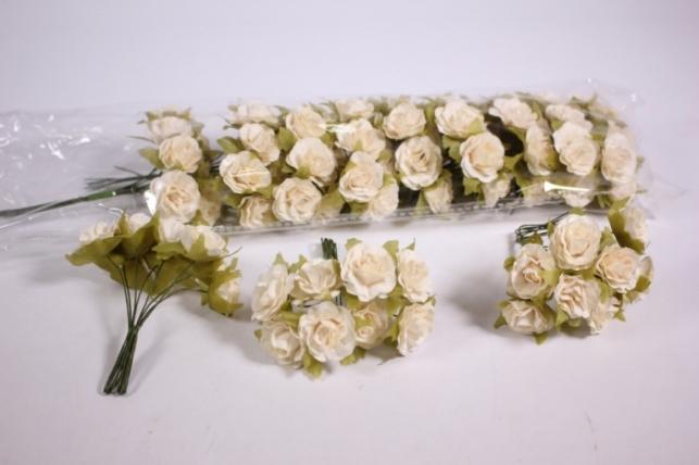 Искусственные цветы бумажные 2,5см Кремовые (72шт в уп) CF10-L1320