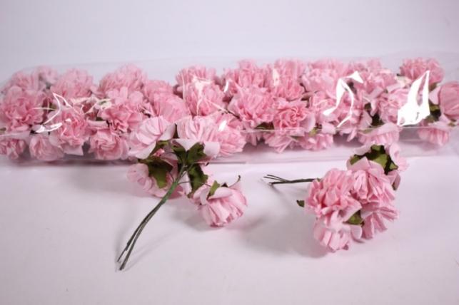 Искусственные цветы бумажные 2,5см Розовые (72шт в уп) CF10-L382