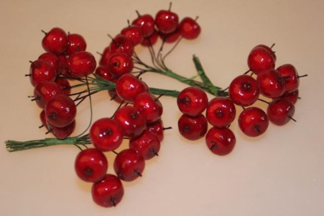 искусственные фрукты 2550 яблоки красные 3см (10пучков по 12шт) 7800