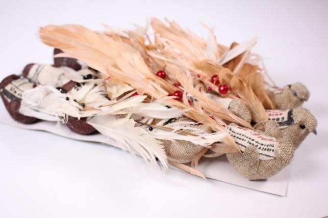 Искусственные птички - 3668 Птичка лен перья 14см на проволоке (12шт в уп)