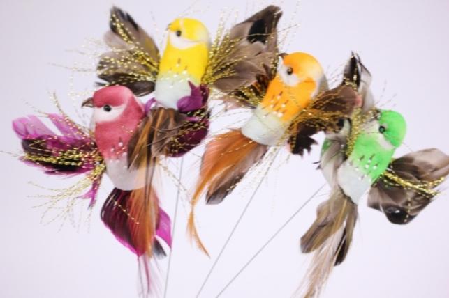 Искусственные птички на проволоке (12шт в уп) LY07079 Drut